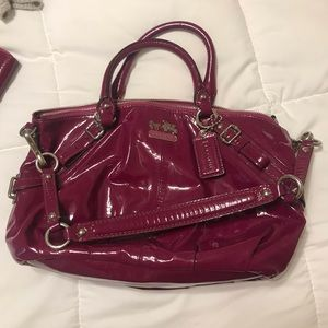 Purple patent leather Coach bag and wallet